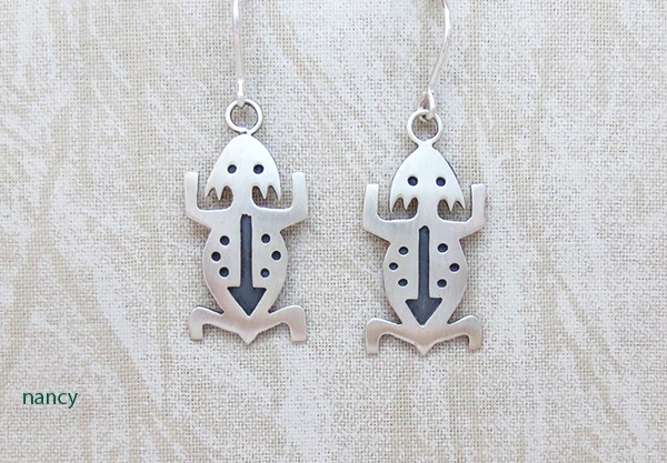 Sterling Silver Lizard Earrings Navajo Jewelry - 1227sn