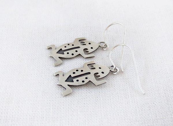Image 1 of     Sterling Silver Lizard Earrings Navajo Jewelry - 1227sn