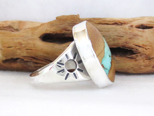 Image 2 of     Boulder Turquoise & Sterling Silver Ring Sz 7.75 Navajo Jewelry - 1230sn