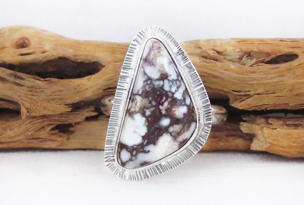 Image 0 of   Navajo Jewelry Wild Horse Stone & Sterling Silver Ring Sz 9 - 1235sn