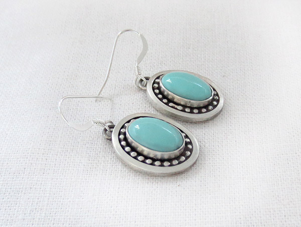 Image 1 of      Turquoise & Sterling Silver Earrings Native American Jewelry - 1225sw