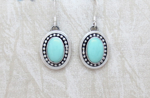 Turquoise & Sterling Silver Earrings Native American Jewelry - 1225sw