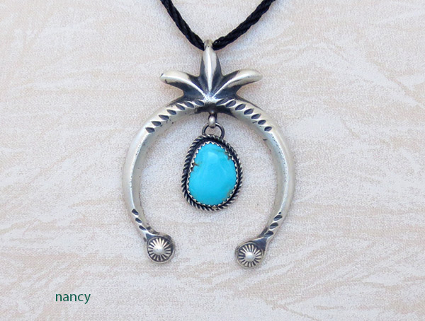 Image 0 of     Turquoise & Sterling Silver Naja Pendant Navajo Jewelry - 1226rb