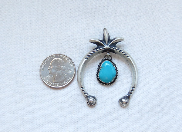 Image 1 of     Turquoise & Sterling Silver Naja Pendant Navajo Jewelry - 1226rb