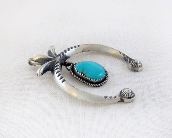 Image 2 of     Turquoise & Sterling Silver Naja Pendant Navajo Jewelry - 1226rb