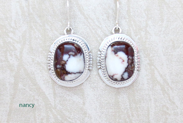 Image 0 of     Wild Horse Stone & Sterling Silver Earring Navajo  Jewelry - 1239sn