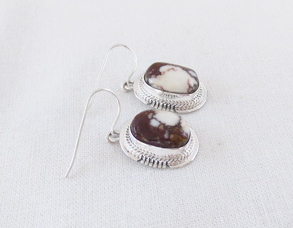 Image 1 of     Wild Horse Stone & Sterling Silver Earring Navajo  Jewelry - 1239sn