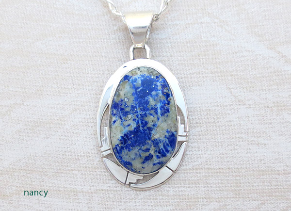 Image 0 of Lapis & Sterling Silver Pendant w/Chain Native American Jewelry - 1238sn