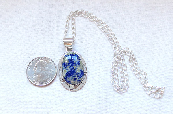 Image 1 of Lapis & Sterling Silver Pendant w/Chain Native American Jewelry - 1238sn