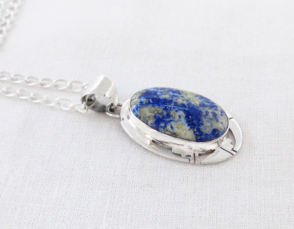 Image 2 of Lapis & Sterling Silver Pendant w/Chain Native American Jewelry - 1238sn