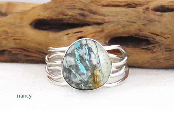 Boulder Turquoise & Sterling Silver Ring Size 7 Navajo Jewelry - 1243sn