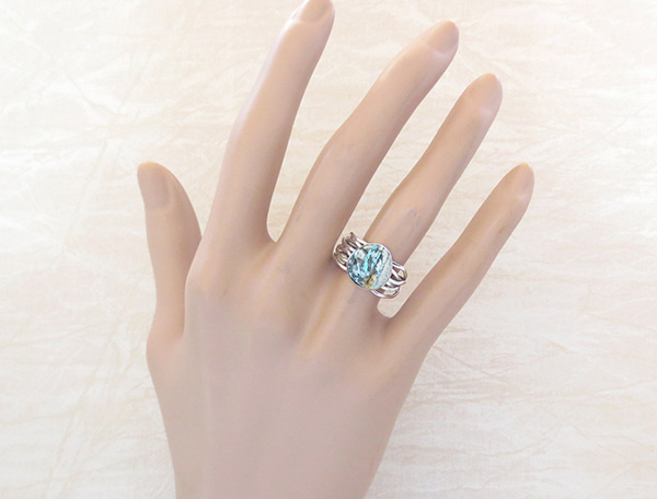 Image 1 of     Boulder Turquoise & Sterling Silver Ring Size 7 Navajo Jewelry - 1243sn