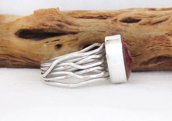 Image 2 of    Mammoth  Stone & Sterling Silver Ring Sz 7.25 Navajo Jewelry - 1241sn