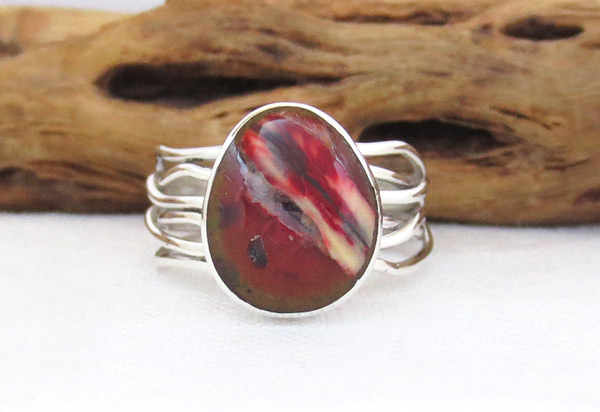 Mammoth  Stone & Sterling Silver Ring Sz 7.25 Navajo Jewelry - 1241sn