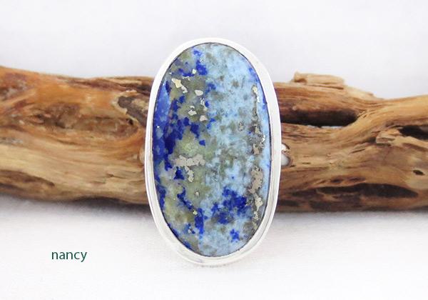 Denim Lapis & Sterling Silver Ring sz 8 Native American Jewelry - 1237sn