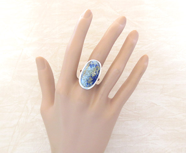 Image 1 of Denim Lapis & Sterling Silver Ring sz 8 Native American Jewelry - 1237sn