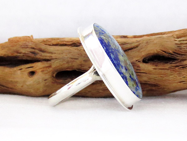 Image 2 of Denim Lapis & Sterling Silver Ring sz 8 Native American Jewelry - 1237sn