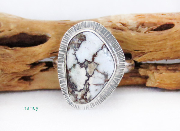 Image 0 of    Navajo Jewelry Wild Horse Stone & Sterling Silver Ring Sz 9 - 1245sn