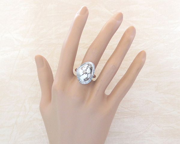 Image 1 of    Navajo Jewelry Wild Horse Stone & Sterling Silver Ring Sz 9 - 1245sn