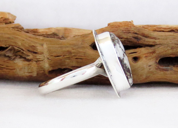 Image 2 of    Navajo Jewelry Wild Horse Stone & Sterling Silver Ring Sz 9 - 1245sn