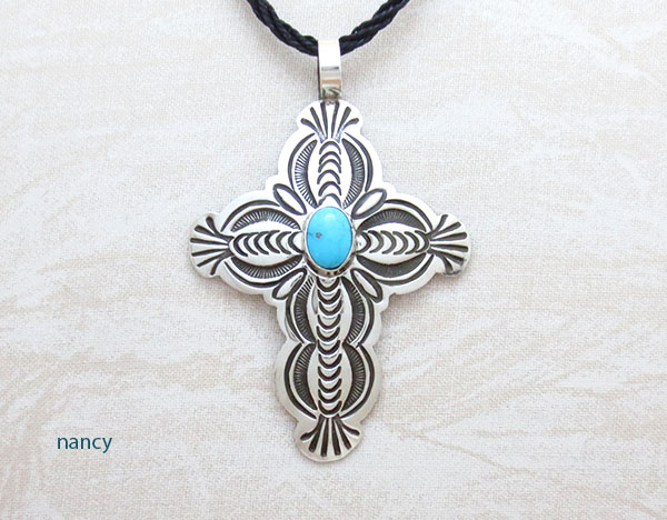 Image 0 of    Turquoise & Sterling Silver Cross Pendant Navajo Jewelry - 1271sn