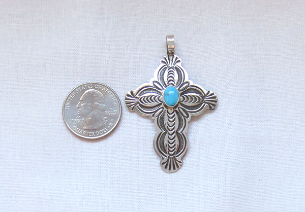 Image 1 of    Turquoise & Sterling Silver Cross Pendant Navajo Jewelry - 1271sn
