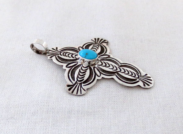 Image 2 of    Turquoise & Sterling Silver Cross Pendant Navajo Jewelry - 1271sn