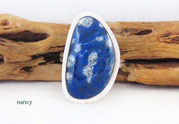 Denim Lapis & Sterling Silver Ring sz 9 Native American Jewelry - 1268sn