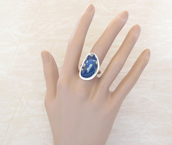 Image 1 of  Denim Lapis & Sterling Silver Ring sz 9 Native American Jewelry - 1268sn