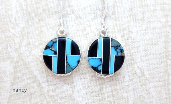 Image 0 of Turquoise & Jet Inlay Sterling Silver Earrings Native American Jewelry - 1269sn