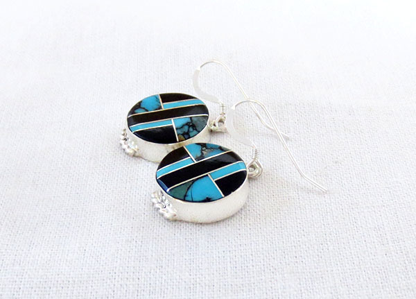 Image 1 of Turquoise & Jet Inlay Sterling Silver Earrings Native American Jewelry - 1269sn