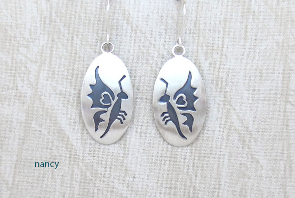 Satin Sterling Silver Butterfly  Earrings Navajo Jewelry - 1270sn
