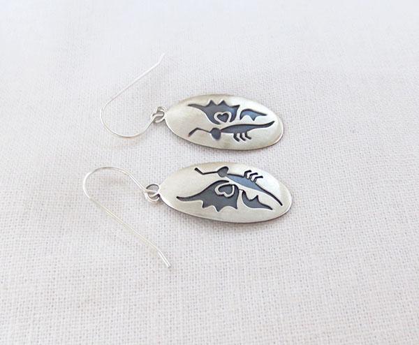 Image 1 of      Satin Sterling Silver Butterfly  Earrings Navajo Jewelry - 1270sn