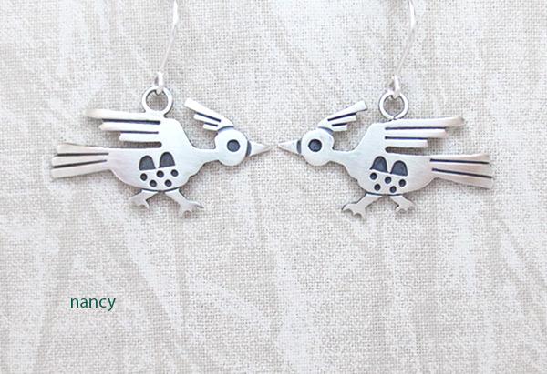 Image 0 of    Satin Sterling Silver Roadrunner Earrings Navajo Jewelry - 1267sn
