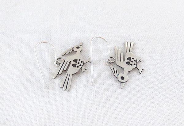 Image 1 of    Satin Sterling Silver Roadrunner Earrings Navajo Jewelry - 1267sn
