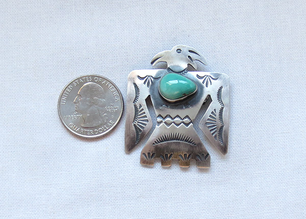 Image 1 of    Turquoise & Sterling Silver Thunderbird Pin / Pendant Navajo - 1218sw