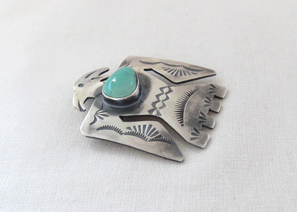 Image 2 of    Turquoise & Sterling Silver Thunderbird Pin / Pendant Navajo - 1218sw