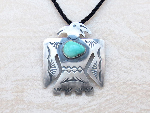 Image 0 of    Turquoise & Sterling Silver Thunderbird Pin / Pendant Navajo - 1218sw