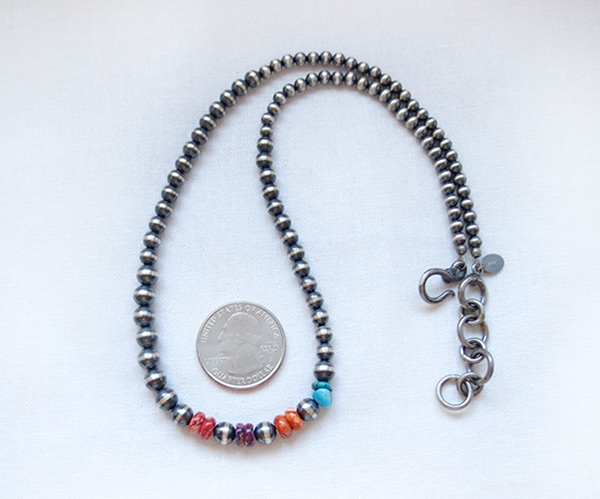 Image 0 of    Sterling Silver Bead Turquoise & Spiny Oyster Necklace 18