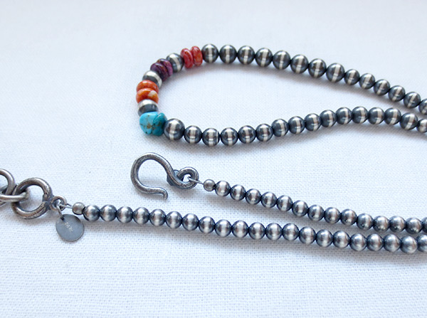 Image 2 of    Sterling Silver Bead Turquoise & Spiny Oyster Necklace 18