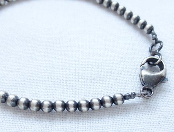 Image 2 of Sterling Silver Desert Pearl Bead Bracelet Native American Jewelry - 5074sn