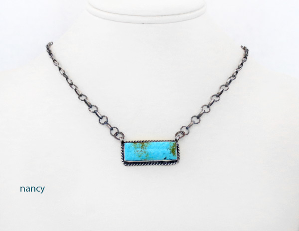 Image 0 of     Turquoise & Sterling Silver Pendant Necklace Navajo Jewelry - 5108dt