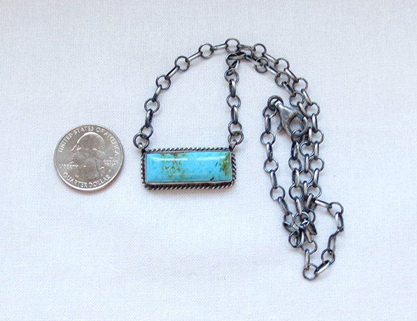 Image 1 of     Turquoise & Sterling Silver Pendant Necklace Navajo Jewelry - 5108dt