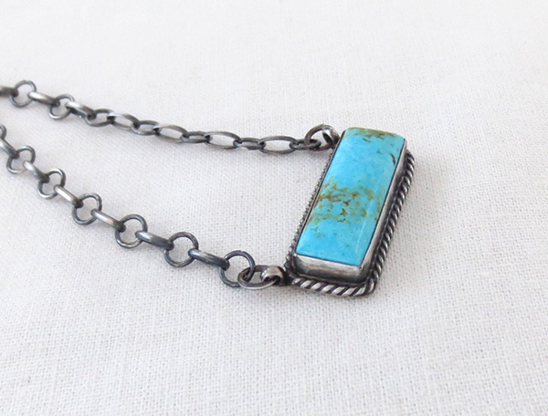 Image 2 of     Turquoise & Sterling Silver Pendant Necklace Navajo Jewelry - 5108dt