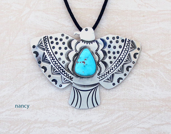 Image 0 of     Big Turquoise & Sterling Silver Thunderbird Pendant Navajo Jewelry - 5109sw