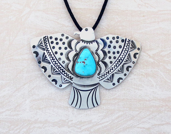 Image 0 of Turquoise & Sterling Silver Thunderbird Pendant / Pin Navajo - 5109sw