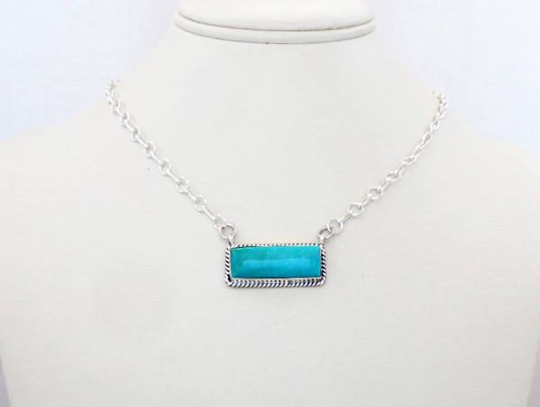 Image 0 of    Turquoise & Sterling Silver Pendant Necklace Native American Jewelry - 5217dt