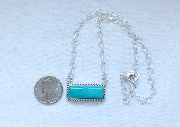 Image 1 of    Turquoise & Sterling Silver Pendant Necklace Native American Jewelry - 5217dt