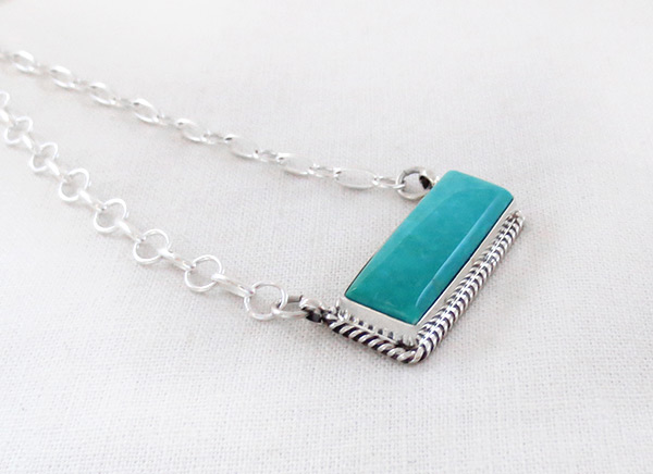 Image 2 of    Turquoise & Sterling Silver Pendant Necklace Native American Jewelry - 5217dt