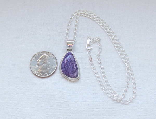 Image 1 of    Charoite & Sterling Silver Pendant W/Chain Native American Jewelry - 5116sn